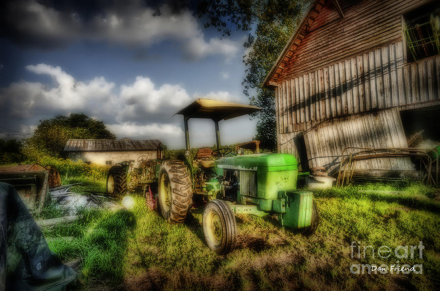 Old Tractor In Field By Barn Photograph