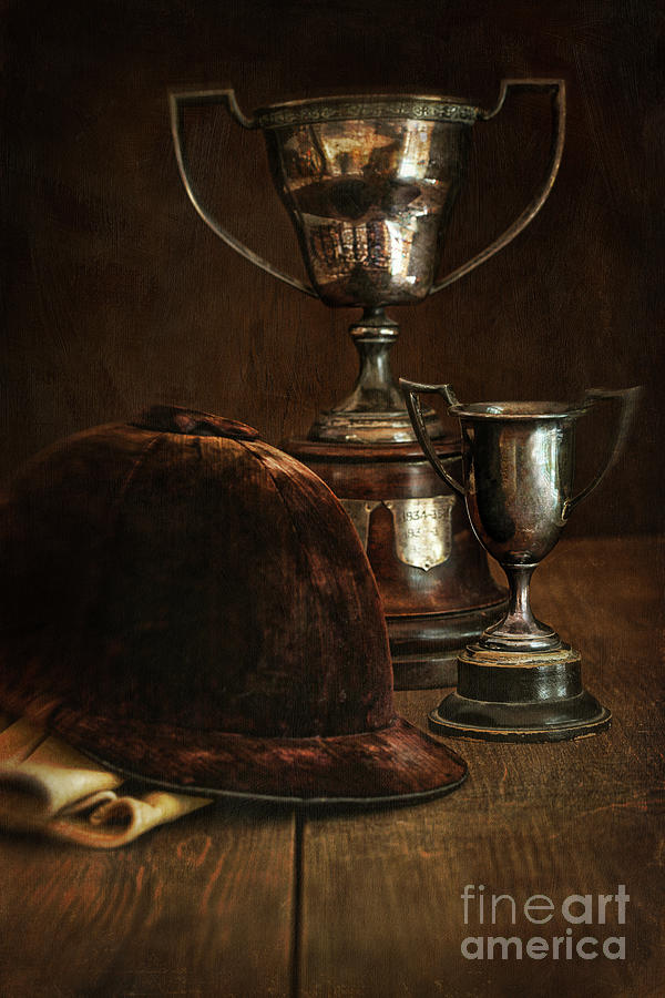Old Trophies With Equestrian Riding Hat Photograph