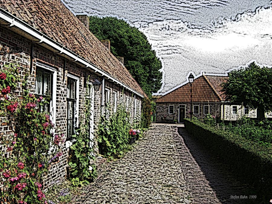 Old Village Digital Art  - Old Village Fine Art Print