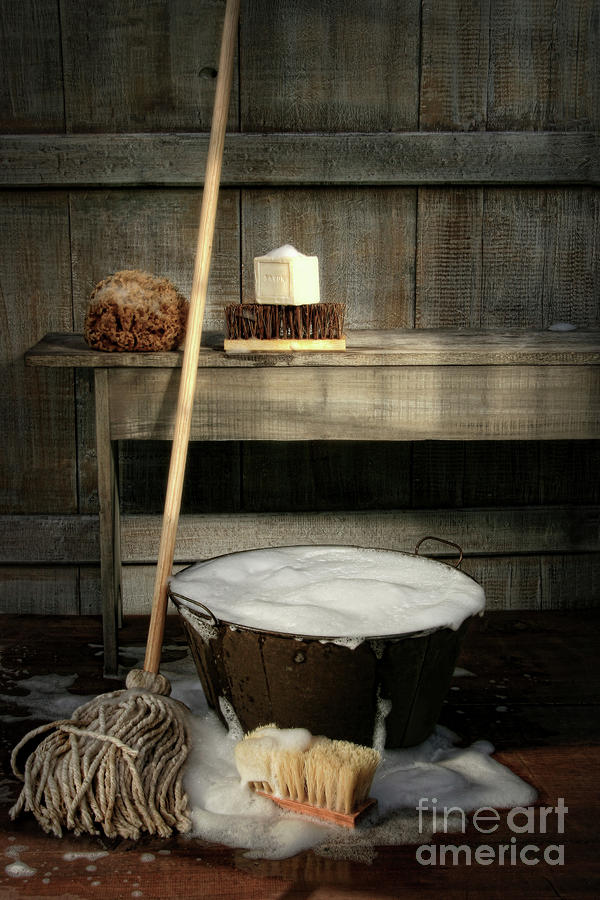 Old Wash Bucket With Mop And Brushes Photograph