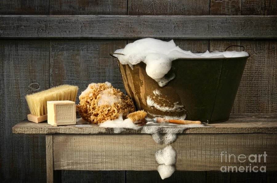 Old Wash Tub With Soap On Bench Digital Art  - Old Wash Tub With Soap On Bench Fine Art Print