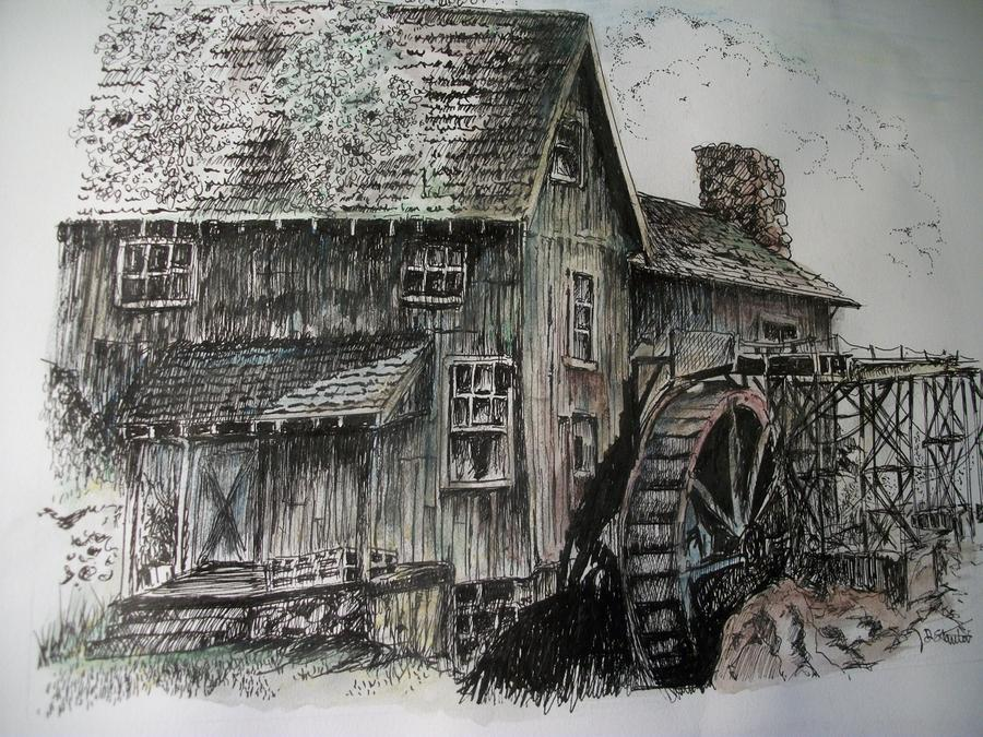 Water Mill Drawing