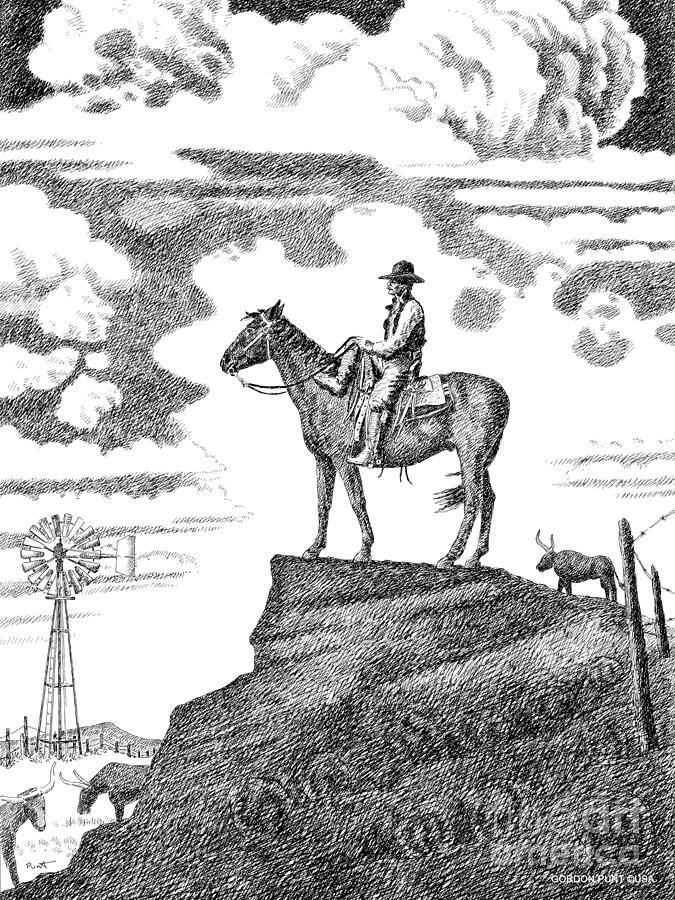 Old-west-art-cowboy Drawing  - Old-west-art-cowboy Fine Art Print