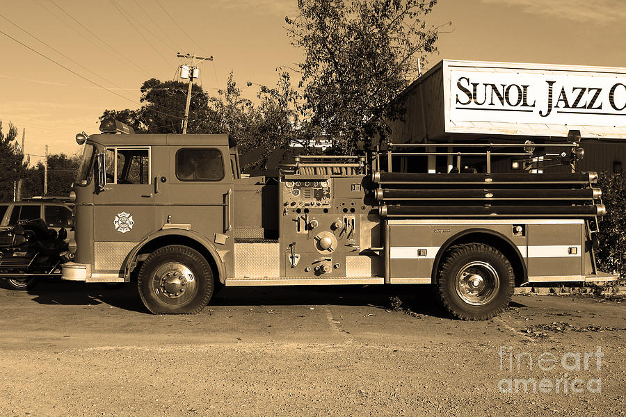 Old Whitney Seagrave Fire Engine At The Sunol Jazz Cafe In Sunol California . 7d10785 . Sepia Photograph  - Old Whitney Seagrave Fire Engine At The Sunol Jazz Cafe In Sunol California . 7d10785 . Sepia Fine Art Print