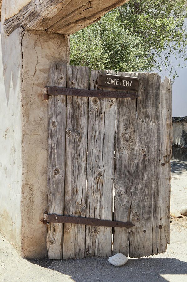 Old Wooden Cemetery Gate In The Adobe Photograph
