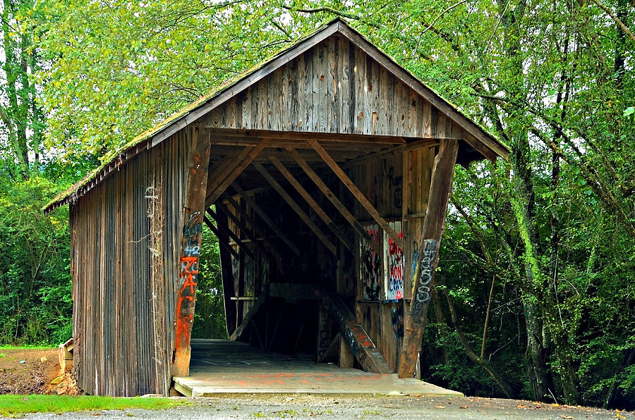 Old Wooden Covered Bridge Photograph  - Old Wooden Covered Bridge Fine Art Print