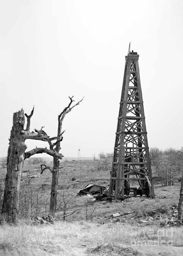 Old Wooden Oil Derrick Photograph