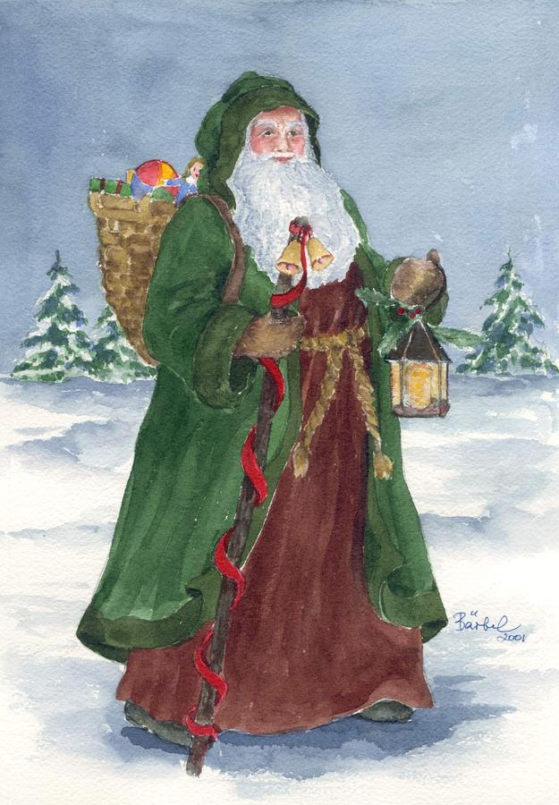 Old World Father Christmas Painting  - Old World Father Christmas Fine Art Print