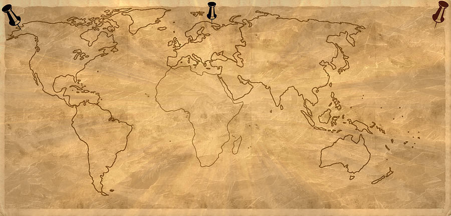Old World Map Digital Art Painting  - Old World Map Digital Art Fine Art Print