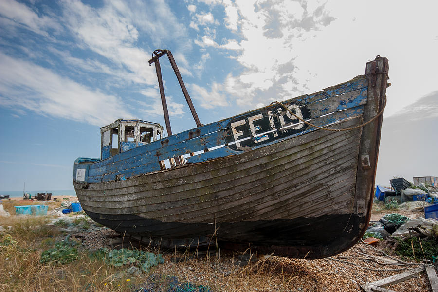 Boat Photograph - Old Wrecked Fishing Boat by Dawn OConnor