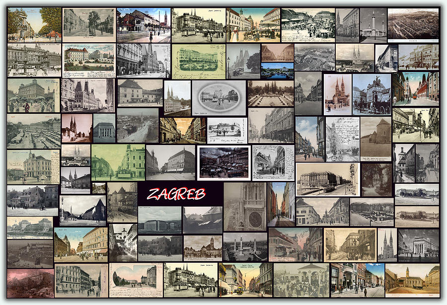 Old Zagreb Collage Pyrography  - Old Zagreb Collage Fine Art Print