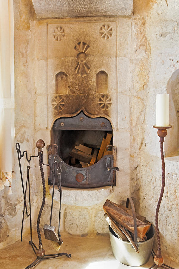 Olde Worlde Fireplace In A Cave  Photograph