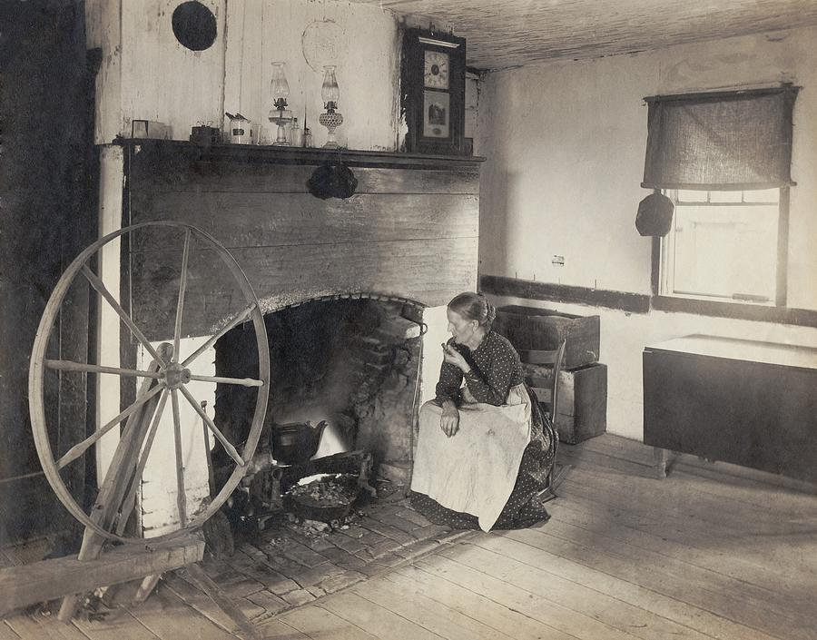 History Photograph - Olden Times. Middle Aged Woman Watching by Everett