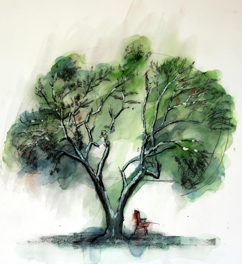 Olive Tree Painting by Husnu Konuk