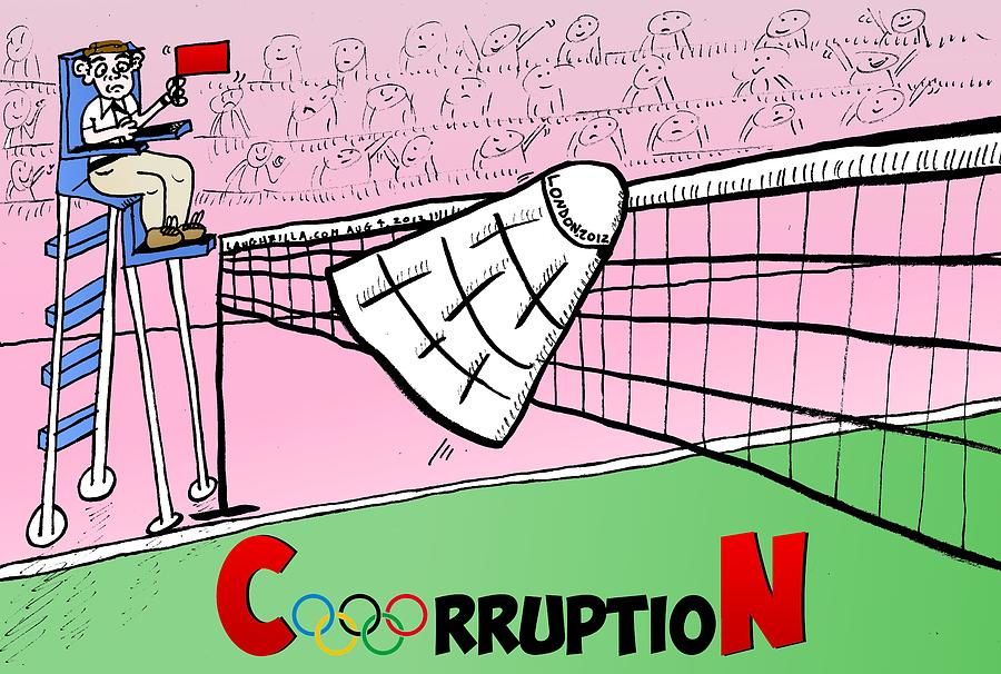 Olympic Corruption Cartoon Drawing  - Olympic Corruption Cartoon Fine Art Print