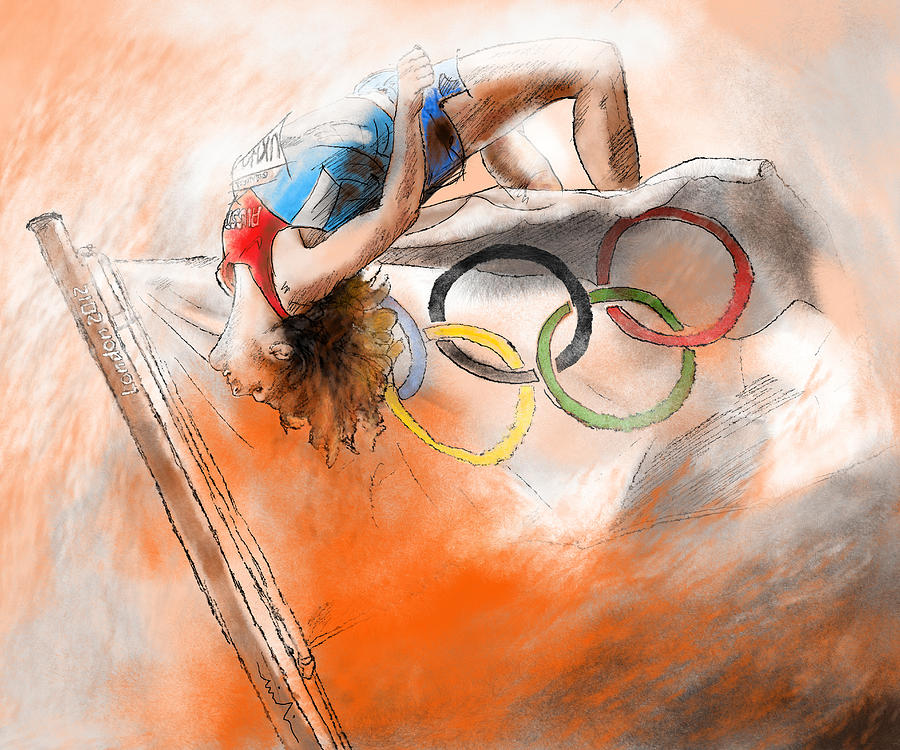 Olympics High Jump Gold Medal Ivan Ukhov Painting  - Olympics High Jump Gold Medal Ivan Ukhov Fine Art Print