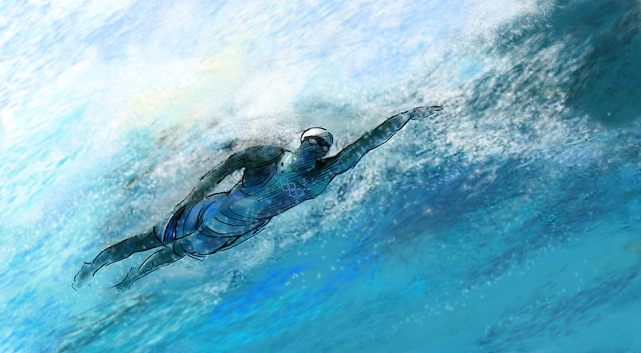 Olympics Swimming 03 Painting By Miki De Goodaboom