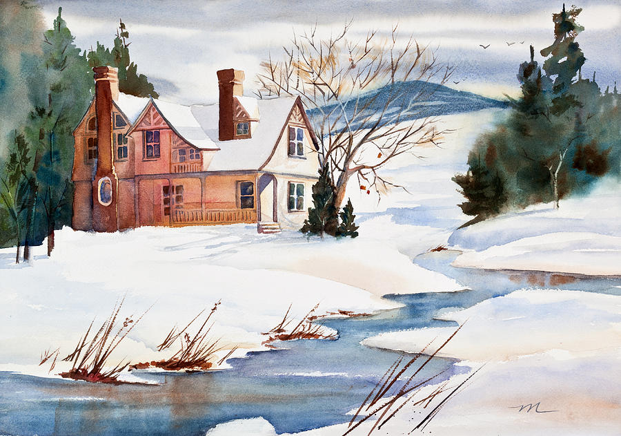 On A Winters Day Watercolor Painting Painting