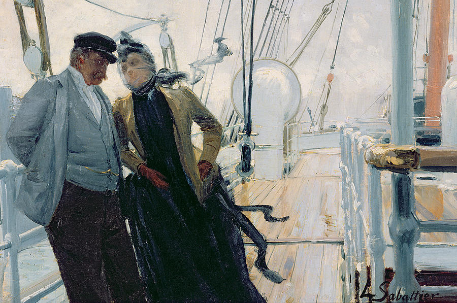 On Deck Painting - On Deck by Louis Anet Sabatier