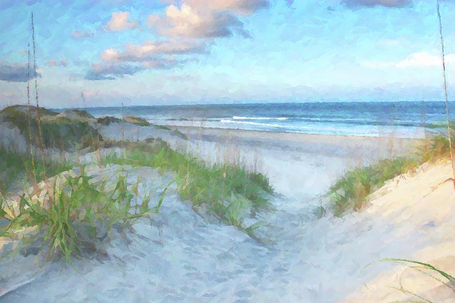 On The Beach Watercolor Digital Art