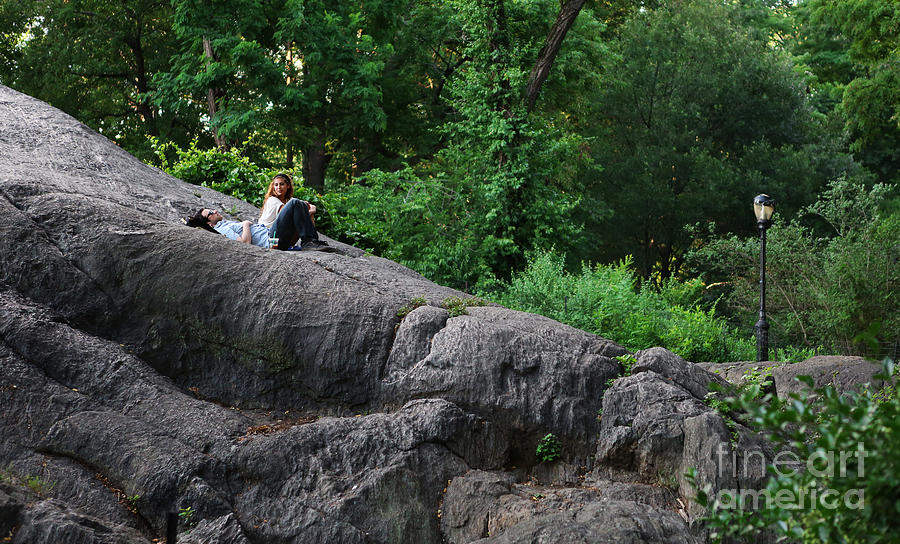On The Rocks In Central Park Photograph