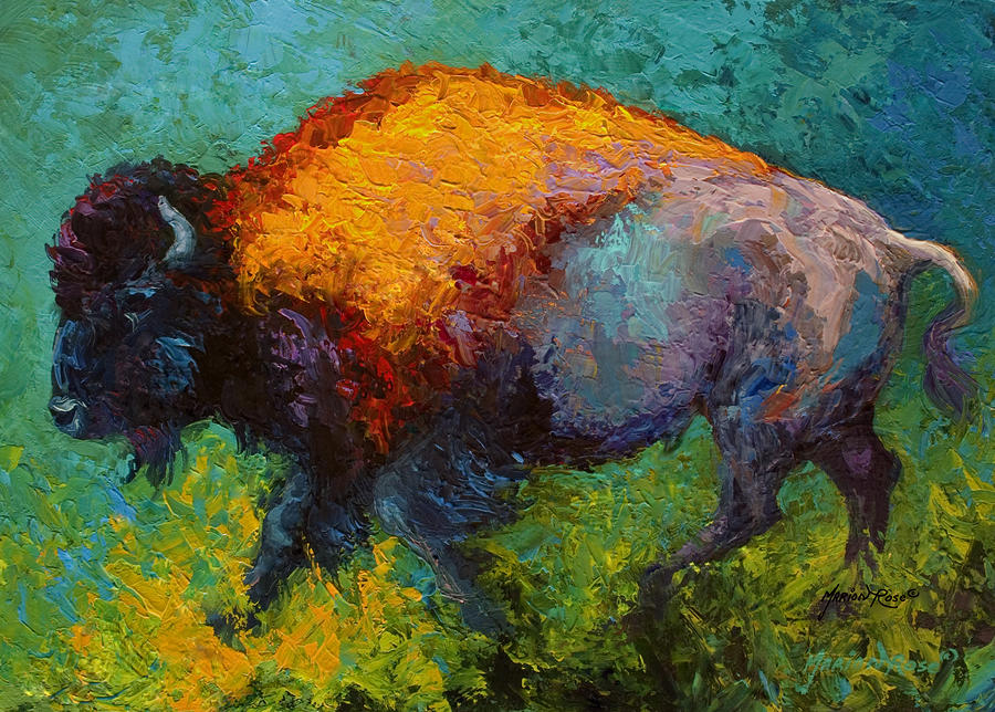 On The Run - Bison Painting