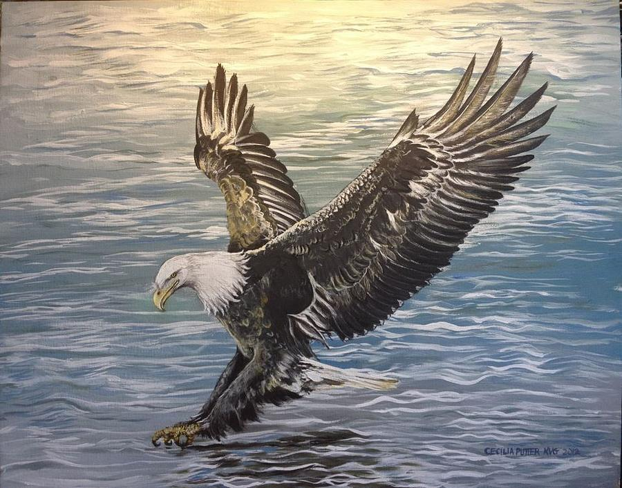 Eagle Swooping In For The Catch. I Love To Paint A Lot Of Datail Painting - On Wings Of Eagles by Cecilia Putter