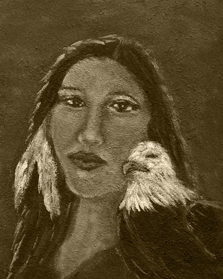 Onawa Native American Woman Of Wisdom With Eagle In Sepia Painting  - Onawa Native American Woman Of Wisdom With Eagle In Sepia Fine Art Print