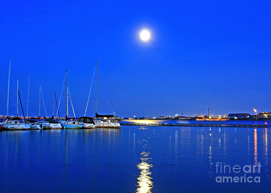 Once In A Blue Moon Twilight At The Marina Photograph  - Once In A Blue Moon Twilight At The Marina Fine Art Print