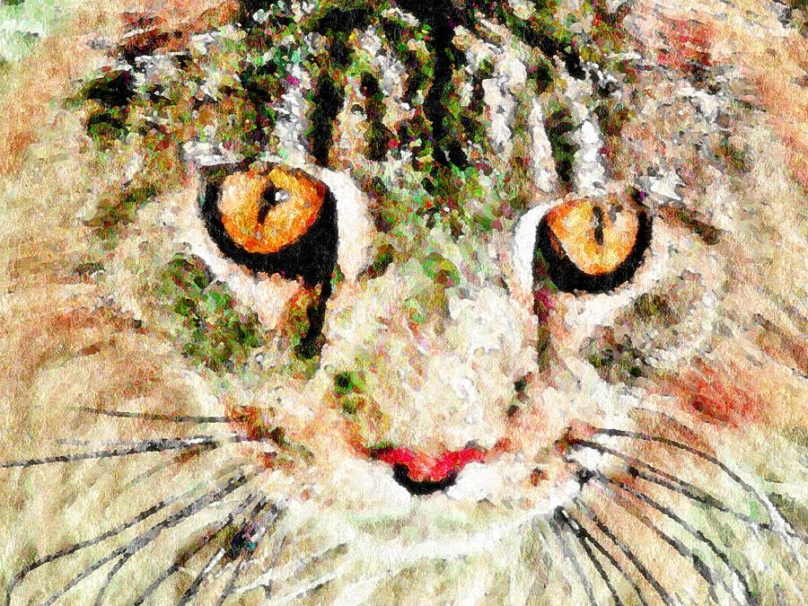 One Cool Cat Digital Art  - One Cool Cat Fine Art Print