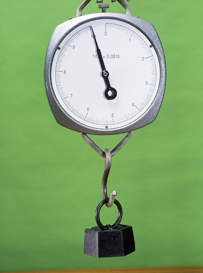 One Kilogram Mass On A Newtonmeter Photograph