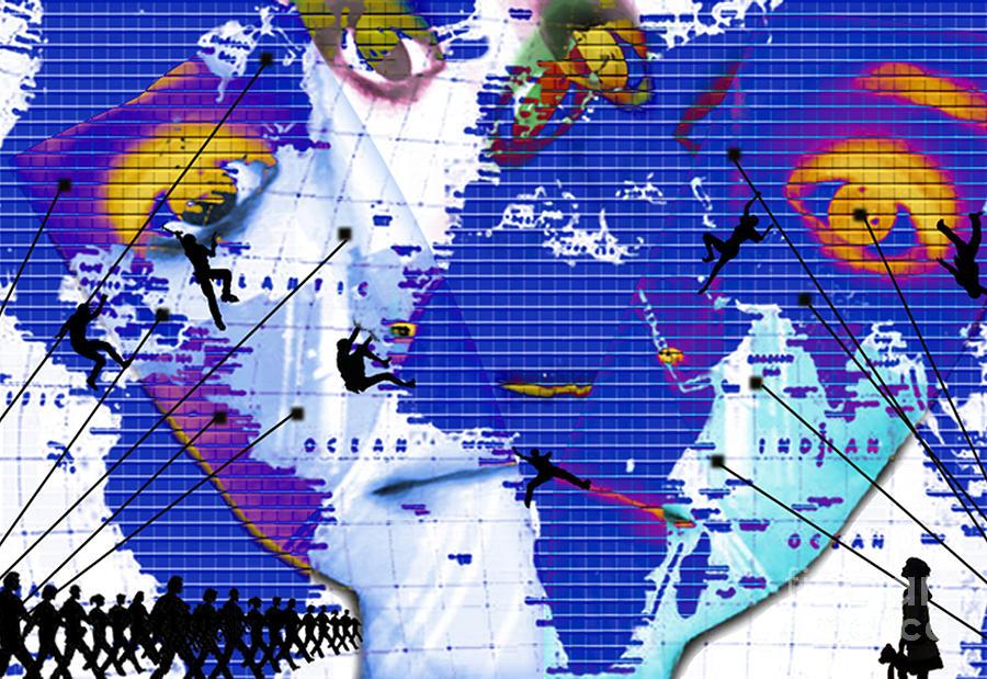 Surreal Mixed Media - One Vs. World by Jenn Bodro