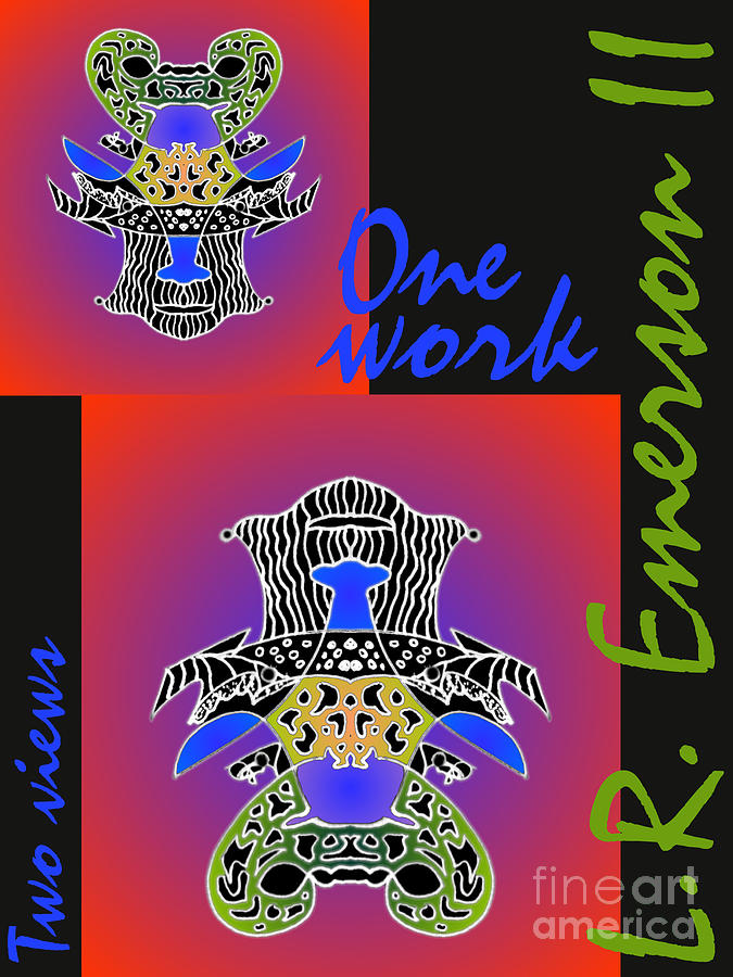 One Work Two Views 2009 Collectors Poster By Topsy Turvy Upside Down Masg Artist L R Emerson II Mixed Media