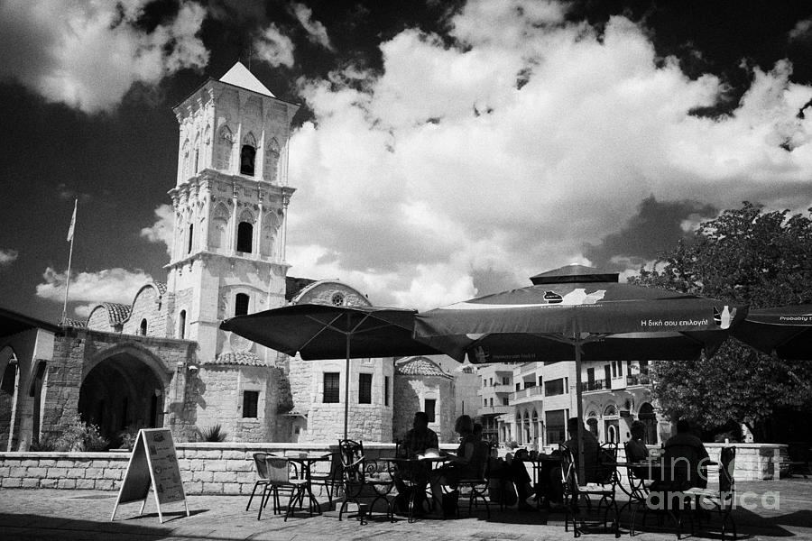 onstreet cafes at St Lazarus Church with belfry larnaca republic of cyprus europe Photograph