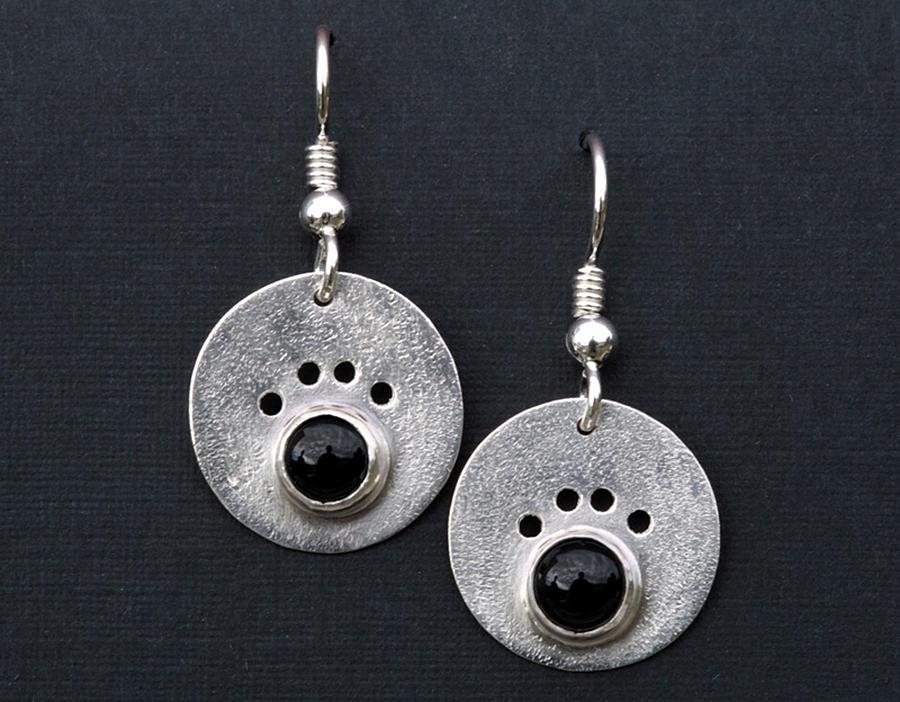 Onyx Dog Paw Earrings Jewelry
