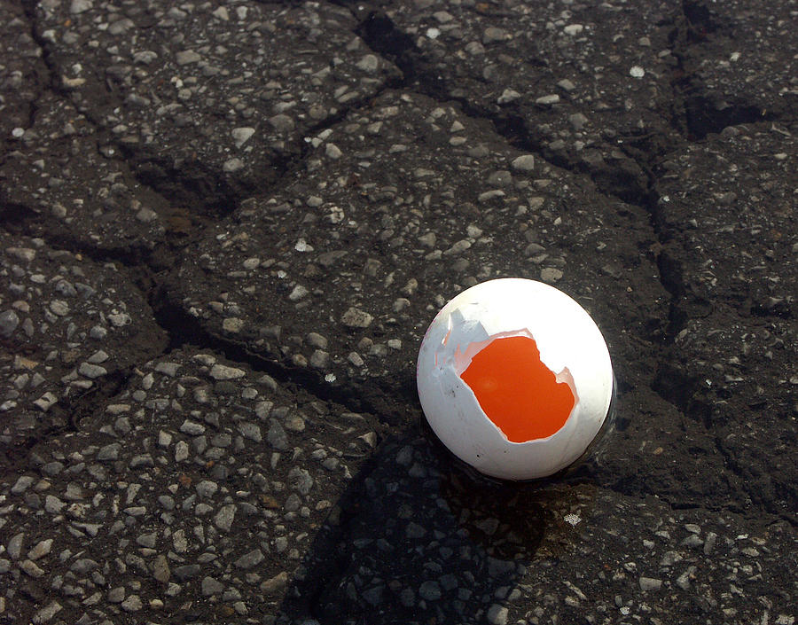 Egg Photograph - Open Broken Egg - View From Above by Matthias Hauser