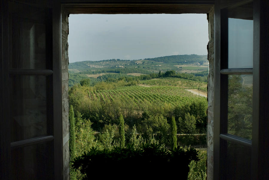 Open Window Looking Out On The Tuscan Photograph  - Open Window Looking Out On The Tuscan Fine Art Print