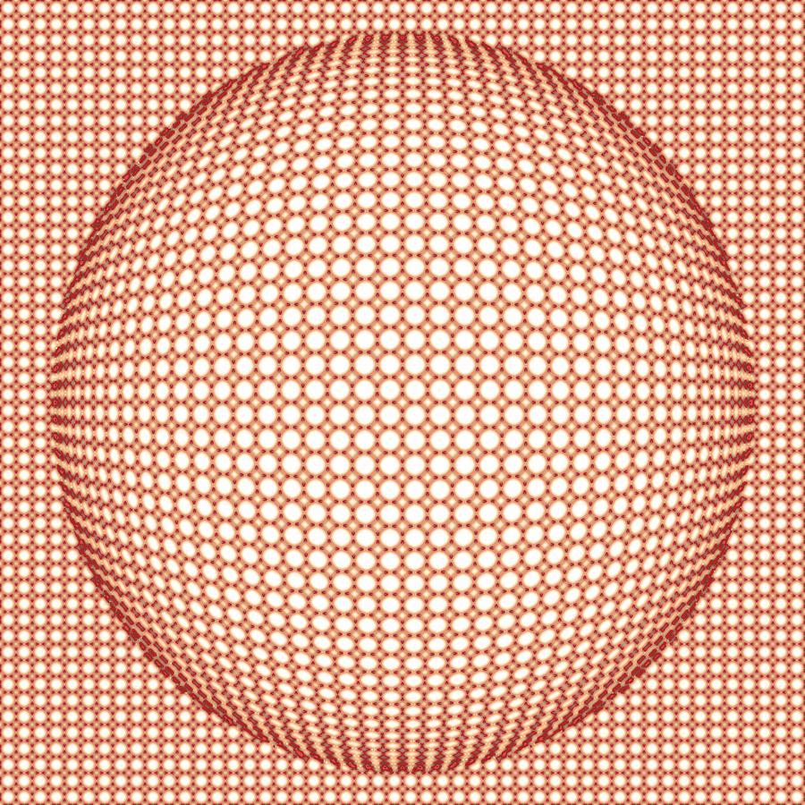 Optical Illusion Orange Ball Digital Art