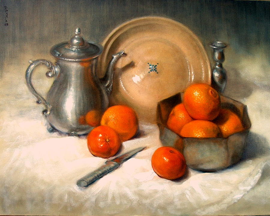 Orange And Gray Painting  - Orange And Gray Fine Art Print