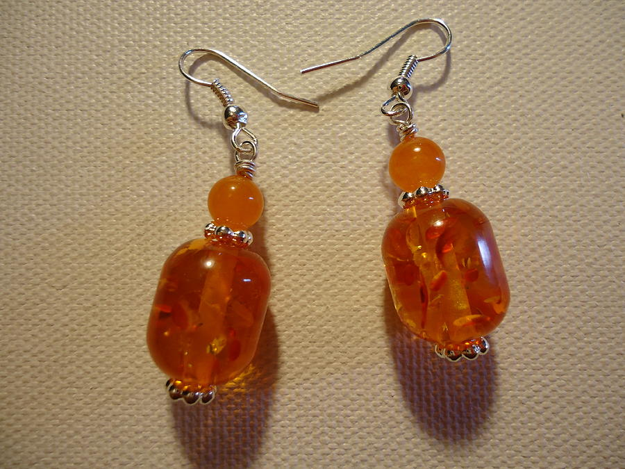 Orange Ball Drop Earrings Photograph