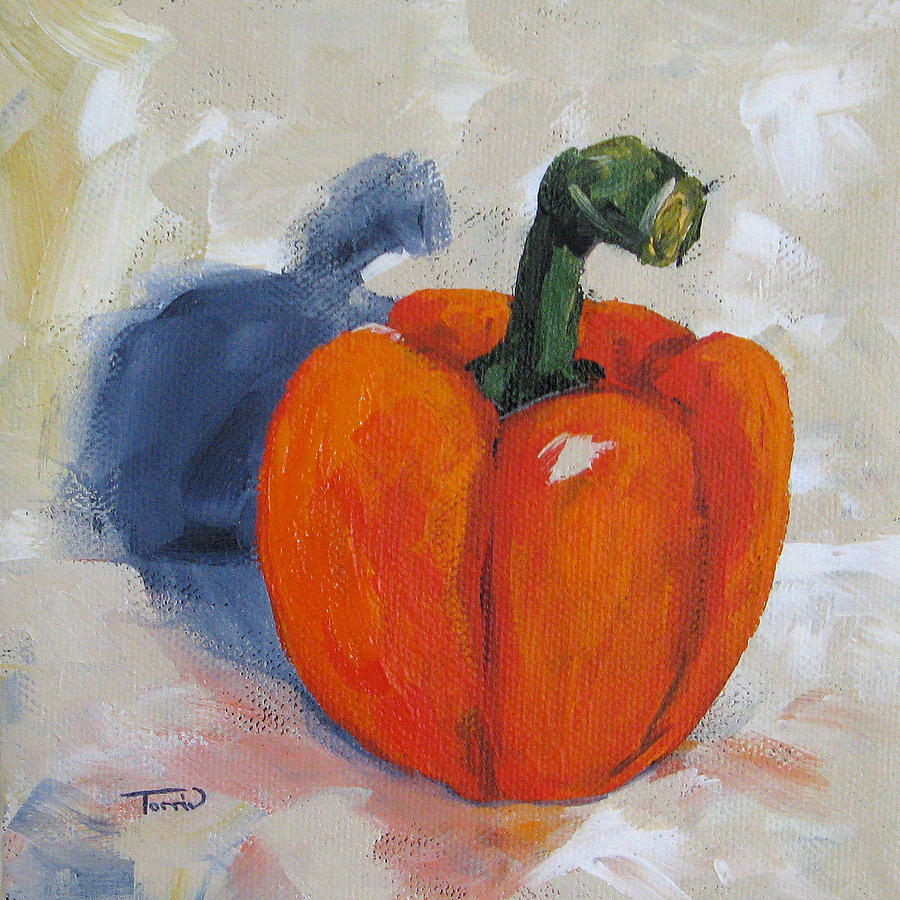 Orange Bell Pepper Painting  - Orange Bell Pepper Fine Art Print
