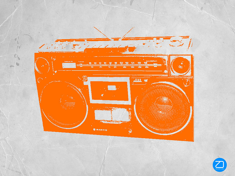 Orange Boombox Painting  - Orange Boombox Fine Art Print