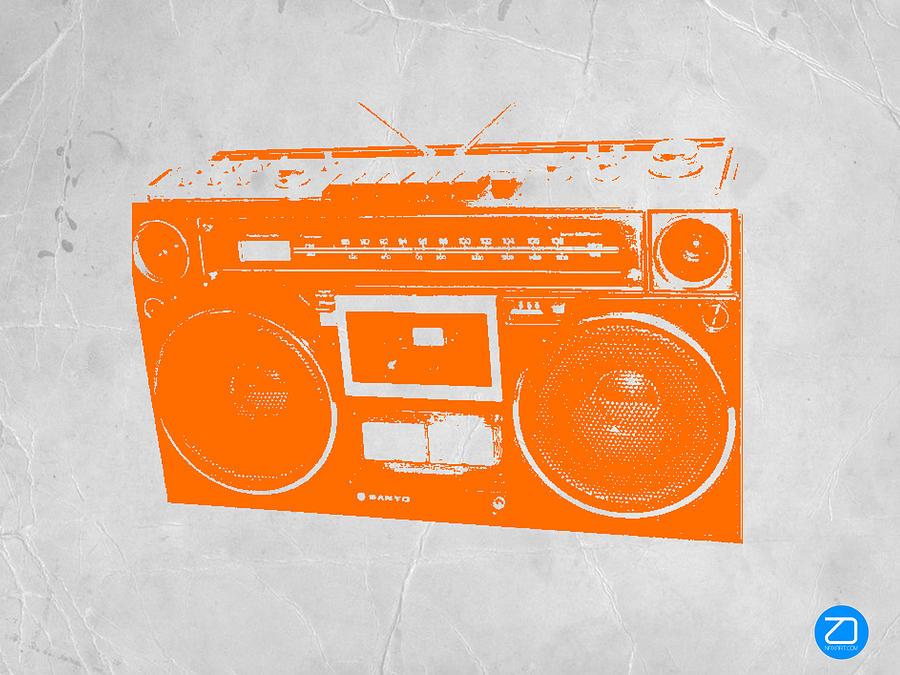 Orange Boombox Painting