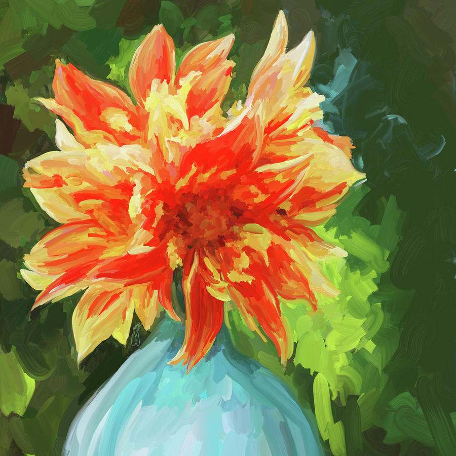 Orange Dahlia - Square Painting  - Orange Dahlia - Square Fine Art Print