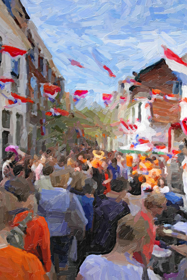 Orange Day Party Digital Art  - Orange Day Party Fine Art Print