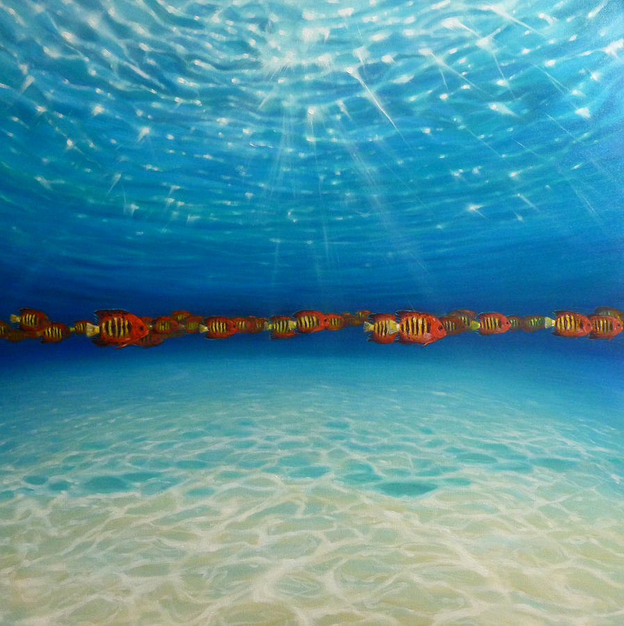Orange fish blue sea painting by gill bustamante for Ocean blue fish oil