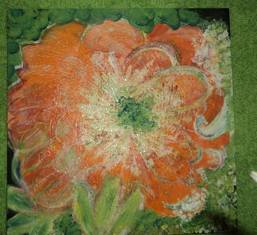 Orange Floral Fantasy Painting  - Orange Floral Fantasy Fine Art Print