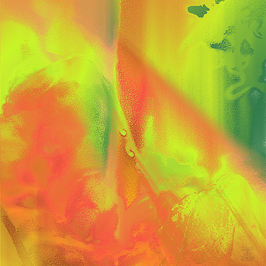 Orange lime green abstract by dee flouton for Lime green wall art