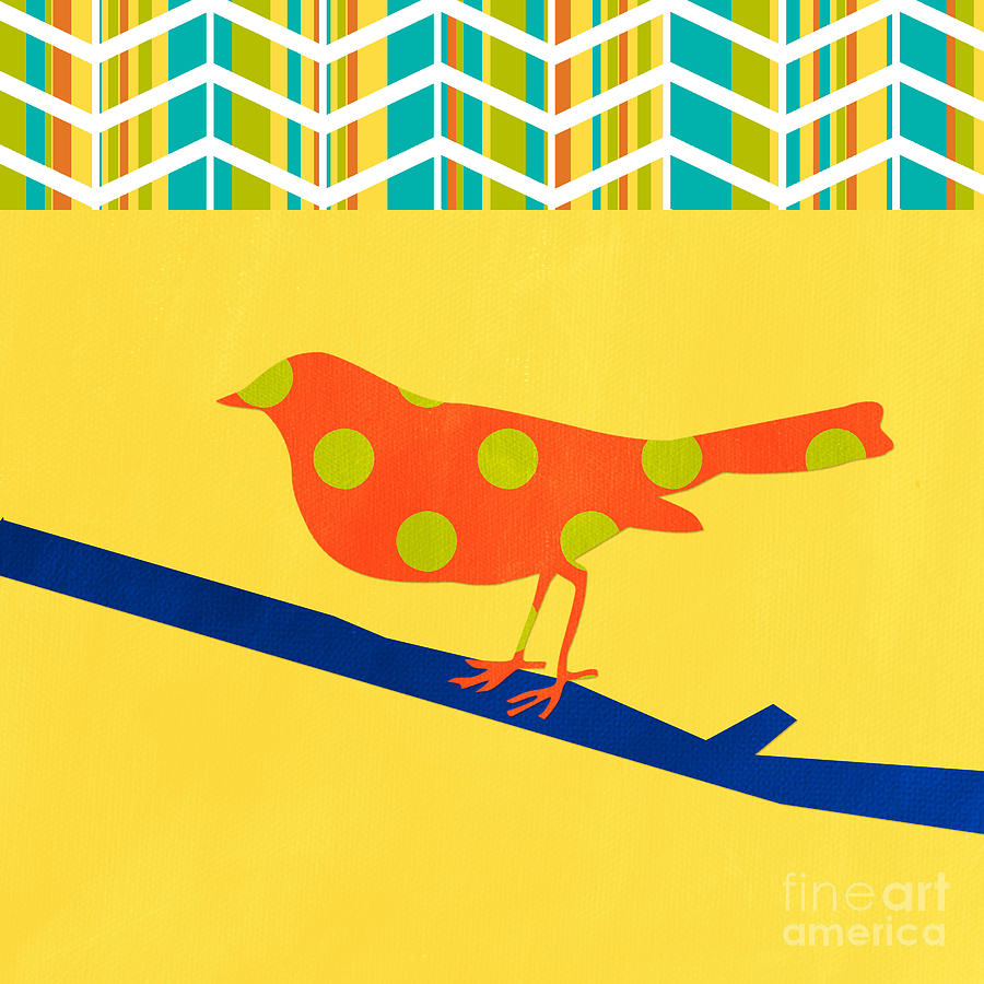 Orange Polka Dot Bird Mixed Media