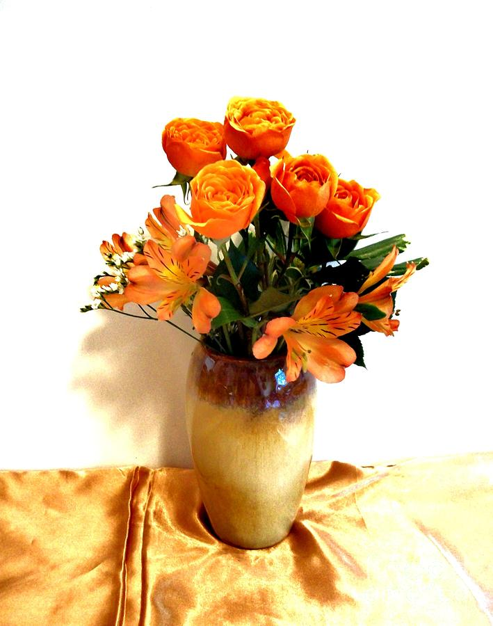 Orange Rose Bouquet Photograph  - Orange Rose Bouquet Fine Art Print
